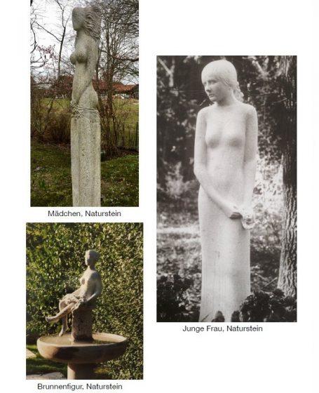 Galerie Helmut Schlegel 11 Skulpturen - Mädchen , Junge Frau, Naturstein Brunnenfigur - Happerg - Degerndorf - Eurasburg