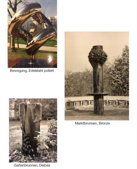 Helmut Schlegel akad. Bildhauer Happerg / Eurasburg / Wolfratshausen - südl. von München Edelstahl poliert Skulptur, Marktbrunnen, Gartenbrunnen Diabas