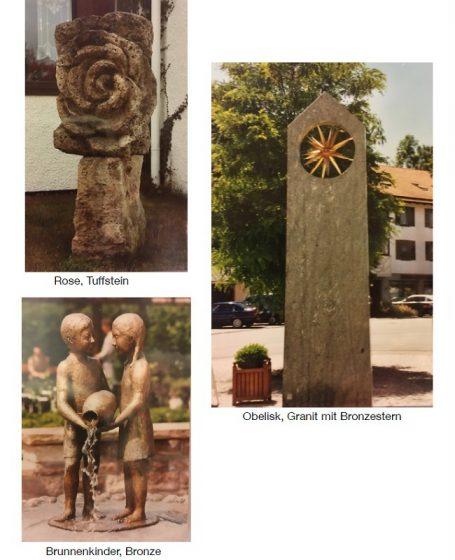 Galerie Helmut Schlegel - Bildhauer - Skulpturen rose Tuffsetein, Obelisk, Granit mit Bronzestern, Brunnenkinder, Bronze