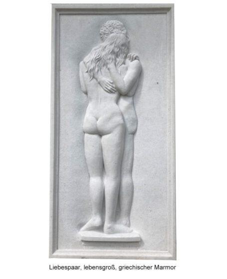 Bildhauer Schlegel - Liebespaar, lebensgroß, griechischer Marmor